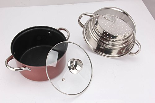 Pristine Non Stick Induction Base 2 Tier Multi Purpose Steamer with Glass Lid, 18 cm