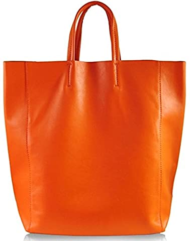 Lush Leather Lambskin Shopper Orange Bag - Lambskin Leather Tote Bag