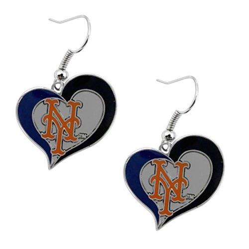 aminco MLB York Mets Team Logo Swirl Heart Dangle Earring Charm Gift Set