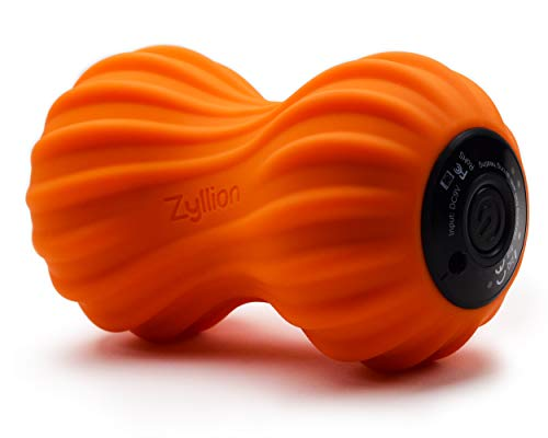 Zyllion Vibrating Peanut Massage Ball - Rechargeable Muscle Roller for Trigger Point Therapy, Deep Tissue Massage, Myofascial Release and Sports Recovery (Orange)