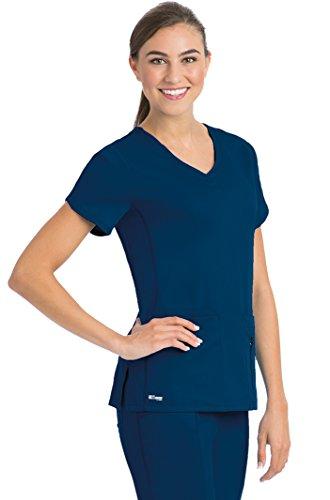 Grey's Anatomy Active Women's 41423 4 Pocket Knit Side Panel V-Neck Scrub Top- Indigo- Small