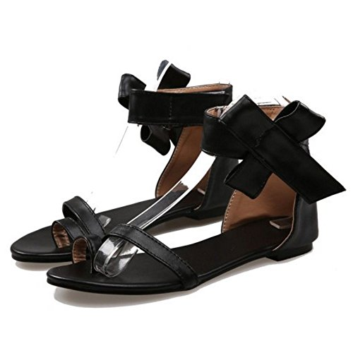 LongFengMa Women's Solid Velcro Ankle Strap Bowite Flats Sandals Shoes Black fTrC7aE