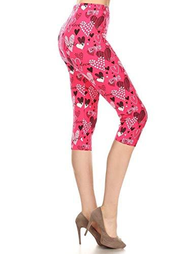 (S678-CA-OS Pink Love Capri Print Leggings)