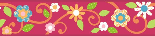 RoomMates Scroll Floral Peel and Stick Border - Magenta/Orange