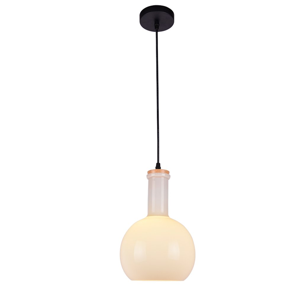 Lighting chandelier glass wrought iron wood E27 1 restaurant bar living room bedroom clubhouse white jar chandelier creative modern idea Nordic A+ ( Size : C )