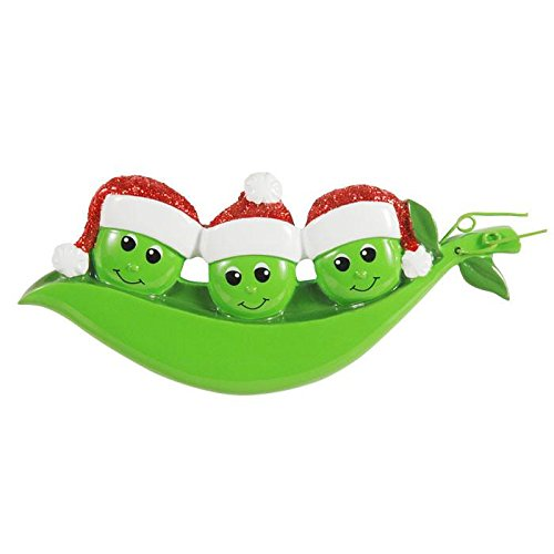 (New Peapod Family of 3 Personalized Christmas Ornament)