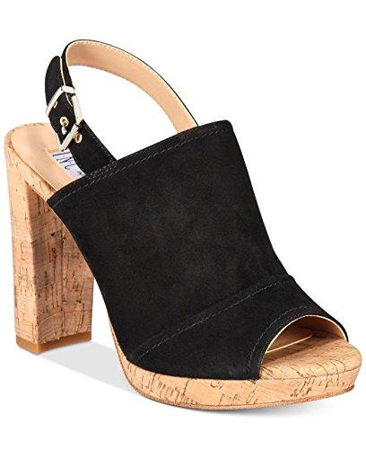 INC International Concepts Womens Tangia Leather Peep Toe Casual Platform San. Black Suede