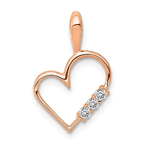 - Jewels By Lux 14k Rose Gold AA Diamond heart pendant