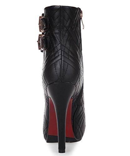 YCMDM tacco alto stivali impermeabili della piattaforma Belt Buckle Moda Scarpe nuove donne di modo temperamento Primavera Autunno Winterapricot Rosso Nero 33 34 35 36 37 38 39 40 , black , 39