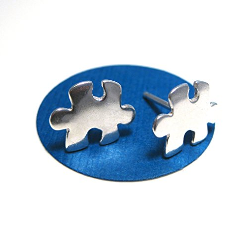 Sterling Silver Puzzle Piece Earrings, Autism Awareness (Autism Awareness Jewelry)