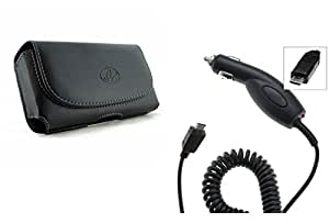 Black Leather Horizontal Belt Clip Case Pouch +High Quality Rapid Car Charger For Sony Xperia ZR C5502