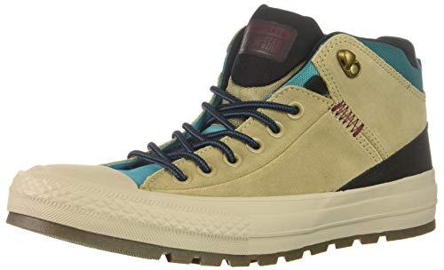 Converse Men's Chuck Taylor All Star High Top Sneaker Boot, Khaki/Black/Rapid Teal 11 M US