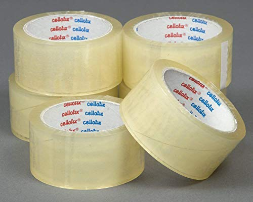 We Can Source It Ltd - 12 Rolls of HIGH Adhesive CELLOFIX Low Noise Clear Packaging Parcel Tape - 48mm X 66m - Best Quality Tape on The Market!