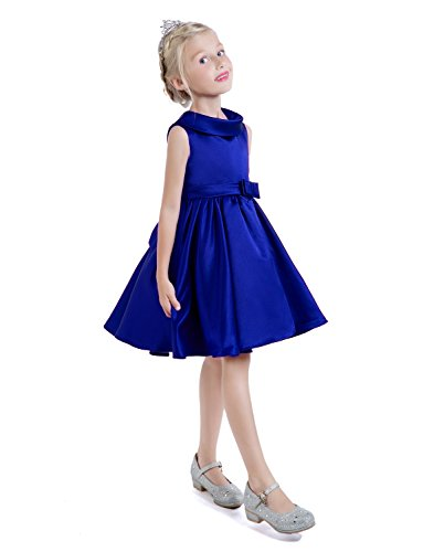 - Castle Fairy Girls Satin High Collar Bow A-Line Pageant National Birthday Dresses 12 Royal Blue