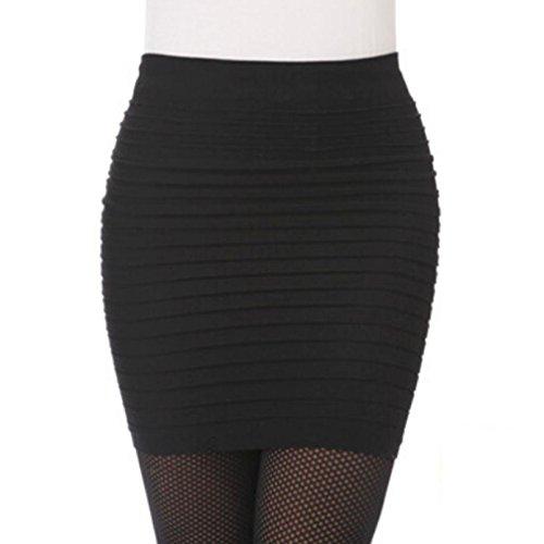 AutumnFall Women's Seamless Bandage Bodycon Mini Knit Basic Stretch Short Pencil Skirt (Black)