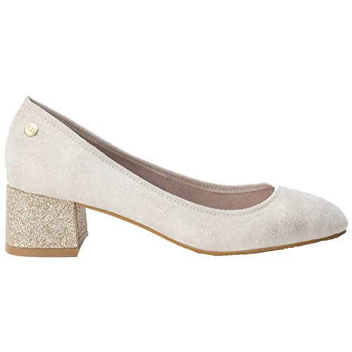 Soft Gold Nude Glitter Heel 5 Block XTI EU Blush Court Ladies Shoes Antelina UK 30707 6 40 YCqxCwnA