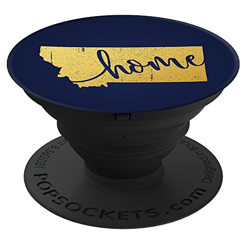 Culture of Pop Montana MT Home State Pride Gold Navy PopSockets Stand for Smartphones and - Pop Montana
