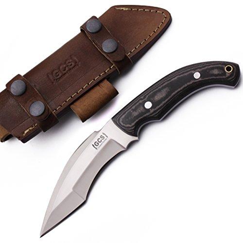 GCS Custom Handmade Black  White Micarta Handle D2 Tool Steel KUKRI TRACKER Knife  Buffalo Hide Sheath 187