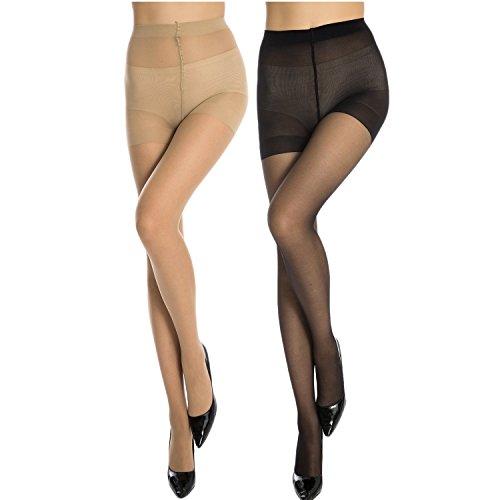 manzi-womens-10-den-ultra-sheer-control-top-ladder-resistpantyhose-2-pairs-miele-black-4l