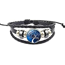 Mrsrui Tree of Life Multilayer Leather Rope Bracelet Bangle Party Wear Birthday Gift For Family Friend
