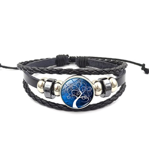 Software : Mrsrui Tree of Life Multilayer Leather Rope Bracelet Bangle Party Wear Birthday Gift For Family Friend