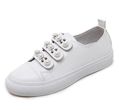 Gruesa Zapatos Zapatos White Moda Ronda Velcro Blancos Estudiantes Corteza LINYI Ocasionales Perla Mujeres Nueva waECqEU