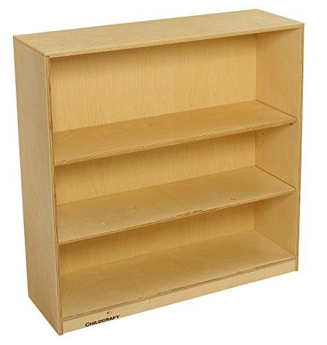 (Childcraft 1291235 Adjustable Bookcase, Birch Veneer Panel, UV Acrylic, 2 Shelves, 36 x 11-3/4 x 36, Natural Wood Tone)