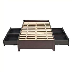 Modus Furniture Simple Platform Storage Bed, King, Espresso