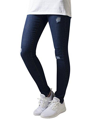 Urban Classics Ladies Ripped Denim Pants, Jeans para Mujer Azul (Darkblue)