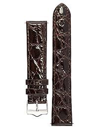 Signature Royal in dark brown 20 mm Short watch band. Replacement watch strap. Genuine crocodile skin. Shine. Silver Buckle
