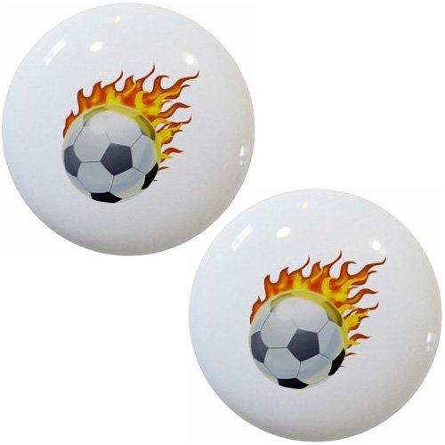 Set of 2 Flaming Soccer Ball Ceramic Cabinet Drawer Knobs ()