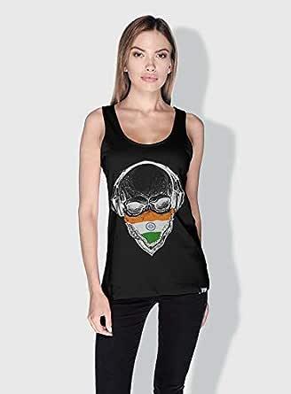 Creo India Skull Tanks Tops For Women - M, Black