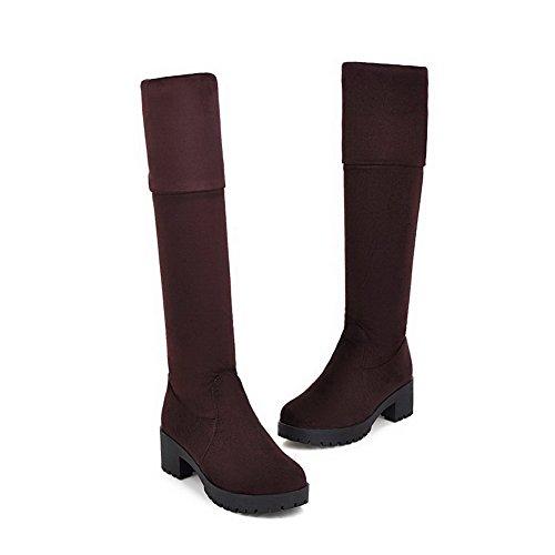 AllhqFashion Damen Mittler Absatz Mattglasbirne Oberschenkel Hohe Rein Ziehen auf Stiefel Braun