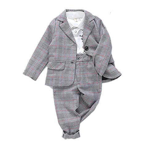 JIANLANPTT Autumn Kids Fashion Plaid Birthday Suits Girls Boys Weddings Blazer Pants Set School Clothes 6-7Years Red 1 by JIANLANPTT