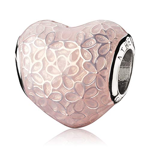 ATHENAIE 925 Sterling Silver Glittering Heart Soft Pink Enamel Flower Charm Beads Color Light Pink