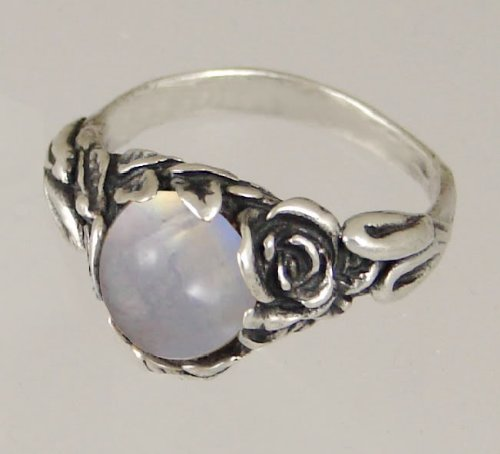 An Elegant Sterling Silver Gothic Ring Featuring Rainbow Moonstone Made in America
