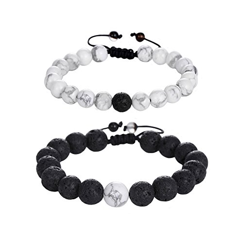 Jade cabbage Hand-woven Distance Relationship Bracelet for Lovers-2pcs Black & White Beads Romantic Gift