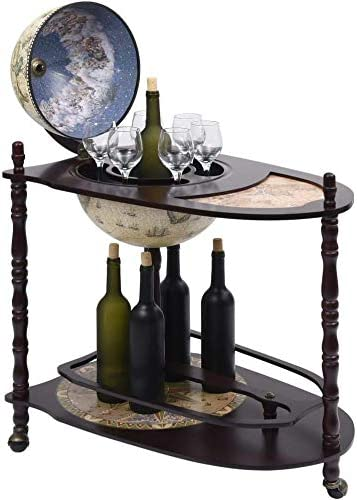 Globe bar Cabinet with lid and Wheel Barrow bar with Tables Trolley,Black