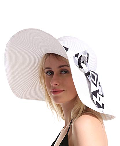 - Women Straw Sun Beach Hat - White Large Wide Brim Floppy Resting Face Sunhat Roll Up Foldable Packable for Summer Vacation UV Protection Ribbon Deal Gift