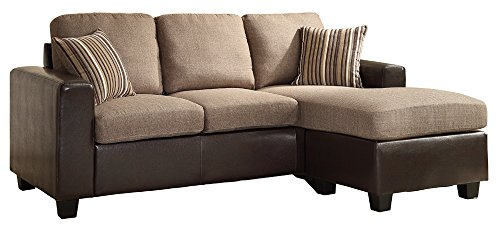 Vinyl Sectional Couch - Homelegance 8401-3SC Reversible Sofa Chaise with 2 Pillows, Brown Linen-Like Fabric and Bi-Cast Vinyl