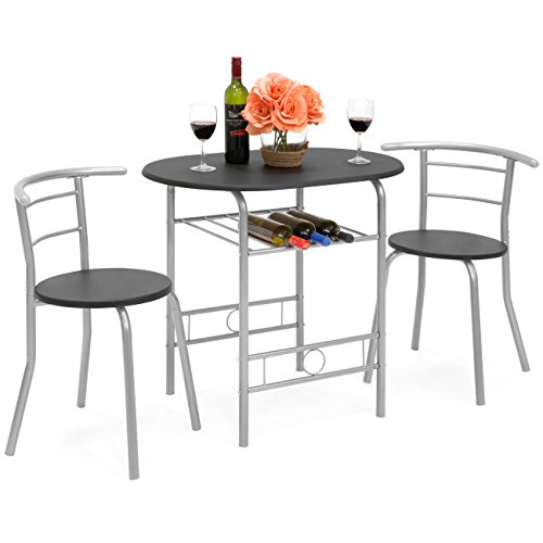 Best Choice Products 3-Piece Wooden Kitchen Dining Room Round Table and Chair Set with Built-in Wine Rack, Black (Round Chairs For Table)
