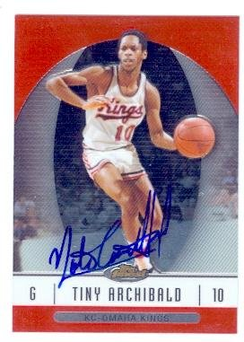Basketball Archibald Autographed (Nate Archibald autographed basketball card (Kansas City Kings) 2007 Topps Finest #50)