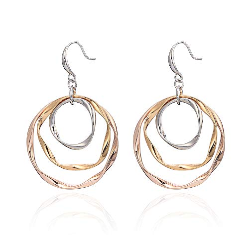 Geometric Circle Dangle Earrings - 2019 Design Punk Loops Metal Style 3 Wire Gift for Women Ear Rings Drop Fashion Jewelry,Gold Sliver Mixed Color