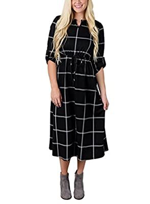 Sidefeel Women Casual Notch Neck Roll up 3/4 Sleeve Plaid Shirt Dress