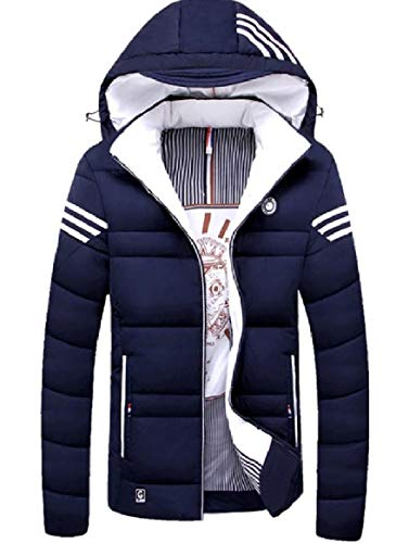 Cotton Thickening Jacket Coat Zips Hood Fit Relaxed Men's RkBaoye Blue 0T5qRIx