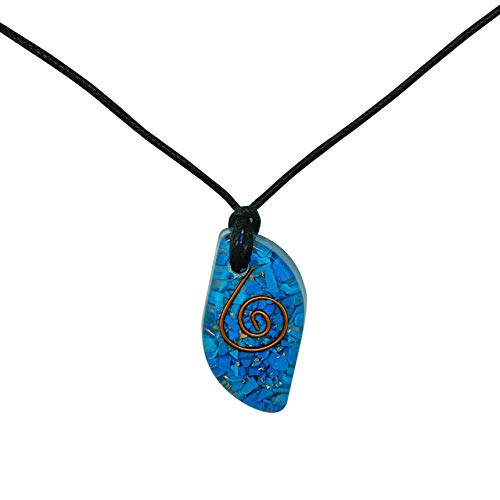 Pura Esprit Third Eye Orgone Pendant- Handmade Orgone pendant with with Natural Turquoise Crystal Energy Generator Orgonite Neckalce for- EMF Protection Chakra Healing Spiritual Reiki Meditation -