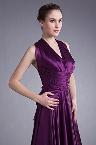 GEORGE Rueckenfrei Lange Satin Abendkleid Lila Abendkleid traegerlosen Elegante BRIDE 7XnrPX