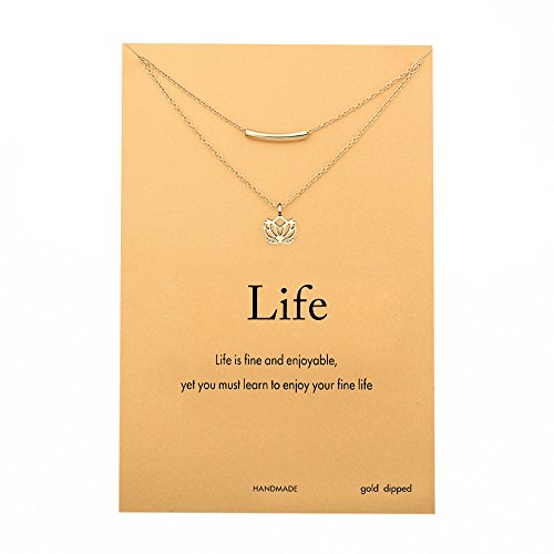 """Monily Meaasge Card """"Life"""" Layer Choker Necklace Lucky Lotus Pendant Necklace New Beginnings Beads Bar Chain For Woman Jewellery"""