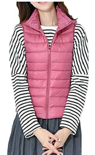 Pink Lightweight Gilet Zip Vest Stand Jacket Quilted Collar Women's TTYLLMAO OzPqx