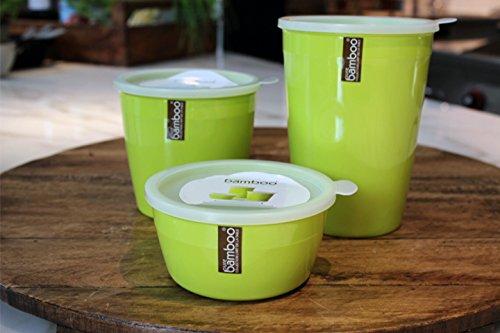 [3 pack] Lebensmittelbehälter / Vorratsbehälter - Vorratsdosen Set / Frischhaltedosen von Melamin Kunststoff by Pure Bamboo - Grüne Lunch Box - Geschirrspülerfest